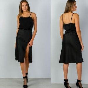 Black Side Slit Midi Skirt